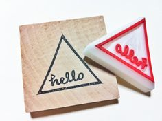 hello rubber stamp. triangle stamp. hand carved by talktothesun, $12.00