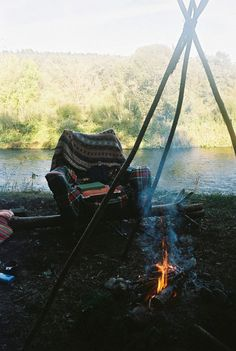 chairs, camping, camps, lake, seats, campfires, place, smoke, river
