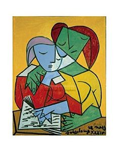 Two Girls Reading by Pablo Picasso.  Picasso cubism.