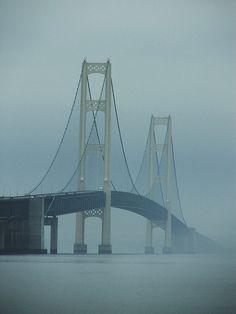 Mackinac Bridge In Fog