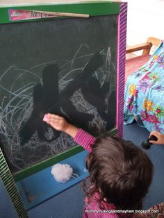 Chalkboard Water 'Painting'....great open ended activity for younger toddlers to create their masterpieces without the use of paint!