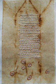 Embroidered Drawing on Teabag no.3  Hand stitching on teabag adhered to Japanese paper - Missouri Bend Studio