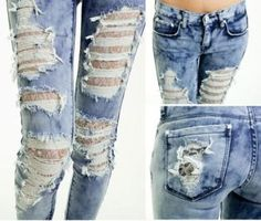 Ripped jeans and lace SO CUTE!!! I WANT THESE BUT THEN MY BF WOULDN'T LEAVE MY BUTT ALONE!!!!
