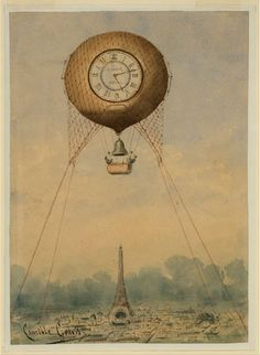 tattoo idea, paris, eiffel tower, towers, clock faces, art, hot air balloons, clocks, balloon tattoo