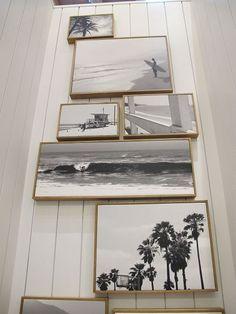 Art bathroom design, beach photos, photo walls, photo displays, beach houses, beach group, black white, wood frames, photo frames on wall
