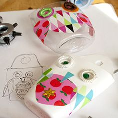 DIY Sweet owl containers made from recycled plastic bottles.