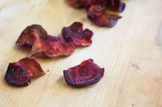 """""""Once you pop, the fun don't stop…"""" but don't worry it's okay to get addicted to these chips. Naturally Ella gives great step-by-step instruction on making homemade beet chips."""