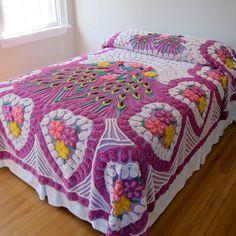 Vintage Peacock Chenille Bedspread