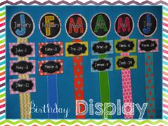 This is a cute idea. Though I'd prefer to use group photos for each month, I'm going to add ribbons. display birthdays school, classroom decor, birthday display ideas, birthday classroom ideas, classroom birthday idea, birthday board, birthday display classroom, birthday classroom display, classroom organization