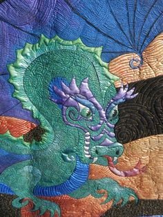 dragon quilts, blue dragon