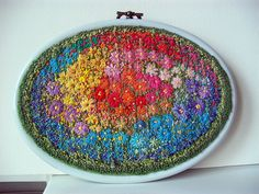 embroidery with lazy daisy and French knot stitch