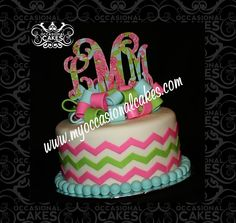 Birthday cake created to coordinate with the client's Lilly Pulitzer monogram cake topper.