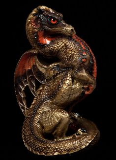 "WINDSTONE ""RED BELLIED SNAKE #1"" EMPEROR DRAGON FIGURINE, FANTASY STATUE"