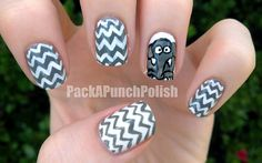 Earl the Baby Elephant Nail Art by PackAPunchPolish, via Flickr