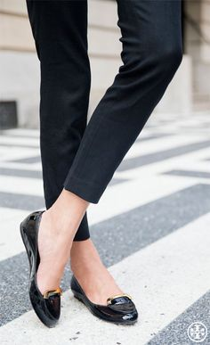 black pants with Tory black flats.