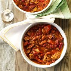 Sandy's Slow-Cooked Chili Recipe from Taste of Home -- shared by Sandra McKenzie of Braham, Minnesota