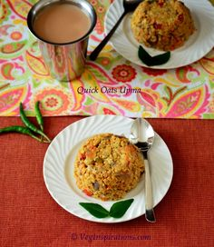 Quick Oats Upma-Savory Indian breakfast with quick oats and vegetables