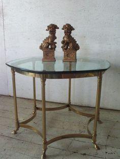 Vintage LaBarge Brass Glass Rams Hoof Coffee Table mid century modern , hollywood regency