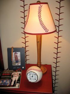 Great lamp and painted walls for a boys baseball room!