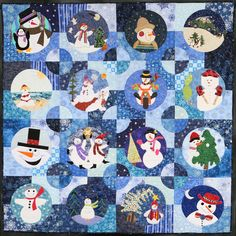 """Snowpeople"" by by Sharon Chaffino,  Best Group Quilt, 2011 Road to California. Artist statement:  ""This quilt is the result of my friendship group's 2009 block exchange... I was inspired to set the blocks in circles to create the illusion of snowmen inside of snowballs."""