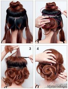 quick and easy up hair. easi updo, bun hairstyles, shorter hair, hair colors, root, messy updo tutorial, bridesmaid, beauti, messi updo