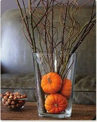 Glass vases with miniture pumpkins and dry twigs are another easy arrangement.