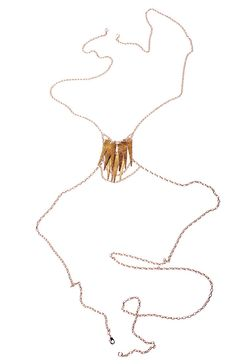 Spike Body Chain Harness Hammered Brass and Rose Gold