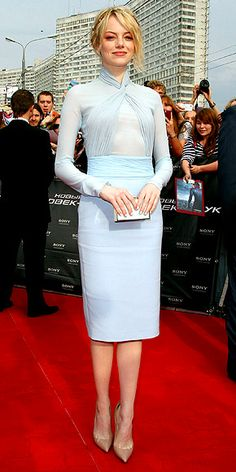 christians, colors, blondes, the dress, christian louboutin, celebr, emma stone fashion, baby blues, ice blue dress