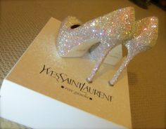 slipper, wedding shoes, yves saint laurent, sparkly shoes, heel, glass, pump, swarovski crystals, bride shoes