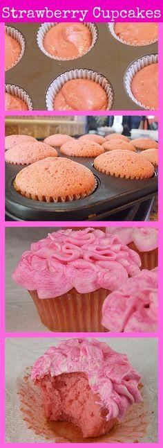 Pink Strawberry Cupcakes #recipe