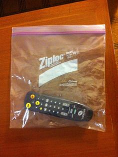 I was told once, that one of the dirtiest things in a hotel room is the TV Remote.  Put it in a ziploc bag and use it. Works great.