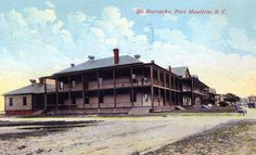 The Barracks, Fort Moultrie, S.C.  Postmarked 1911