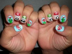 Oh Me! Oh My!: Super Mario Nails #nails DIY NAIL ART DESIGNS