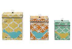 Tin Boxes w/ Lids, Asst. of 3 on OneKingsLane.com