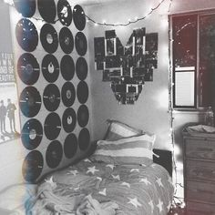 grunge room ideas / vinyl records hanging on the wall / heart picture collage