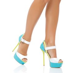 pretty color blocked peep-toe pumps