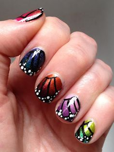 Skittles Butterfly Nails