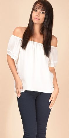 This off the shoulder silk blouse features self binding and gathers at top bodice with a stitched tuck detail at short sleeves. Fully lined.100% silkDry clean only