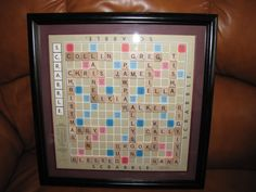 Personalized Scrabble Board Wall Art Framed Picture Home Interior Decor. $49.00, via Etsy.