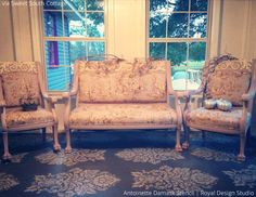 Sweet South Cottage Stenciled Porch Floor | Antoinette Damask Stencil by Wallternatives