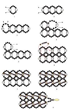 Pattern of necklace Twilight - 2  U need:seed beads 10/0 – 11/0  pearl beads 3 mm  bugles