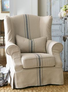 grain sack, soft surroundings, slipcovers, french country, tristan chair, slipcov tristan, furnitur, stripes, wingback chairs