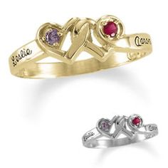 Ladies' 10K Gold Promises of Love Ring by ArtCarved® (2 Stones and Names) - View All Personalized Jewelry - Zales