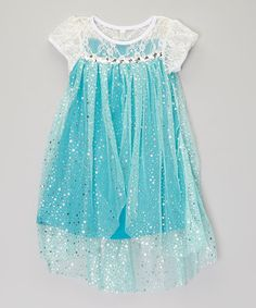 Take a look at this Aqua & White Sparkle Overlay Dress - Toddler & Girls on zulily today!