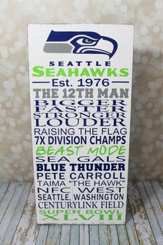 Seattle Seahawks 12th Man Custom Typography by OurHobbyToYourHome, $65.95