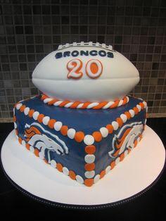Denver Bronco cake!    #Ultimate Tailgate    #Fanatics denver broncos birthday cake, denver bronco cakes, denver broncos football cake, football cakes, cake idea, denver broncos cupcakes, groom cake, fan, birthday cakes