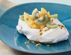 Coconut Pavlovas with Tropical Fruit.