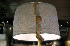 linen slipcovered drum shade