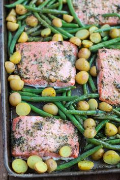 Sheet Pan Lemon Garlic Parmesan Salmon - healthy family weeknight dinner baked to perfection in one pan for easy prep, easy baking and easy clean-up! | Sheet Pan Dinner | Baked Dinner | Salmon Recipe | Healthy Meals | #salmon #sheetpan #dinner #feelgoodfoodie via @feelgoodfoodie1