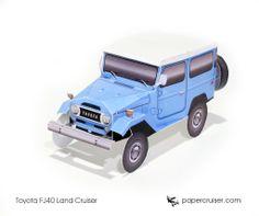 Simple FJ40 Land Cruiser paper model | http://papercruiser.com/downloads/toyota-fj40-land-cruiser-simple/